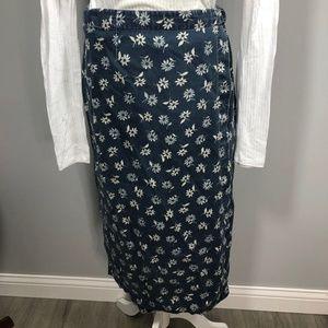Vintage 90's LL Bean Denim Daisy Skirt Petite 6